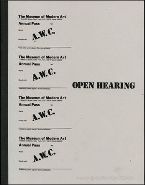 ART WORKERS COALITION. OPEN HEARING/DOCUMENTS 1
