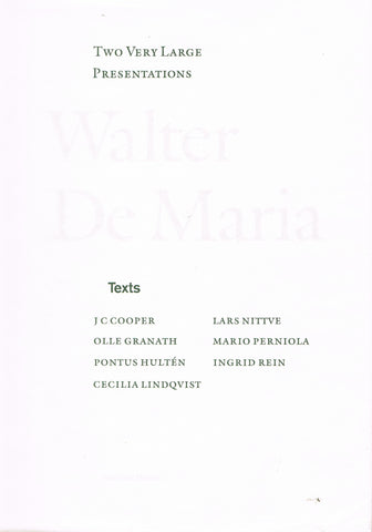 cover of De Maria's Two very large presentations