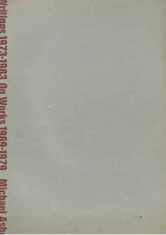 Cover image of Michael Asher Writings 1973-1983 on Works 1969-1979