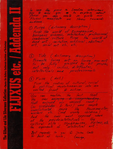 Cover of Addenda II to the Fluxus, Etc. catalogue