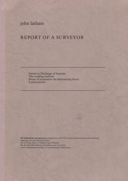 LATHAM, JOHN. REPORT OF A SURVEYOR