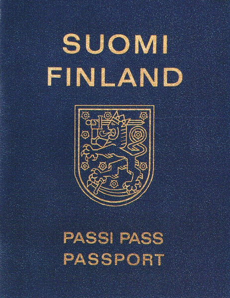 Cover photo of Lawrence Weiner's artist book/passport from Finland