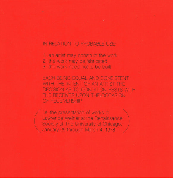 Lawrence Weiner-Renaissance Society-In Relation to Probable Use