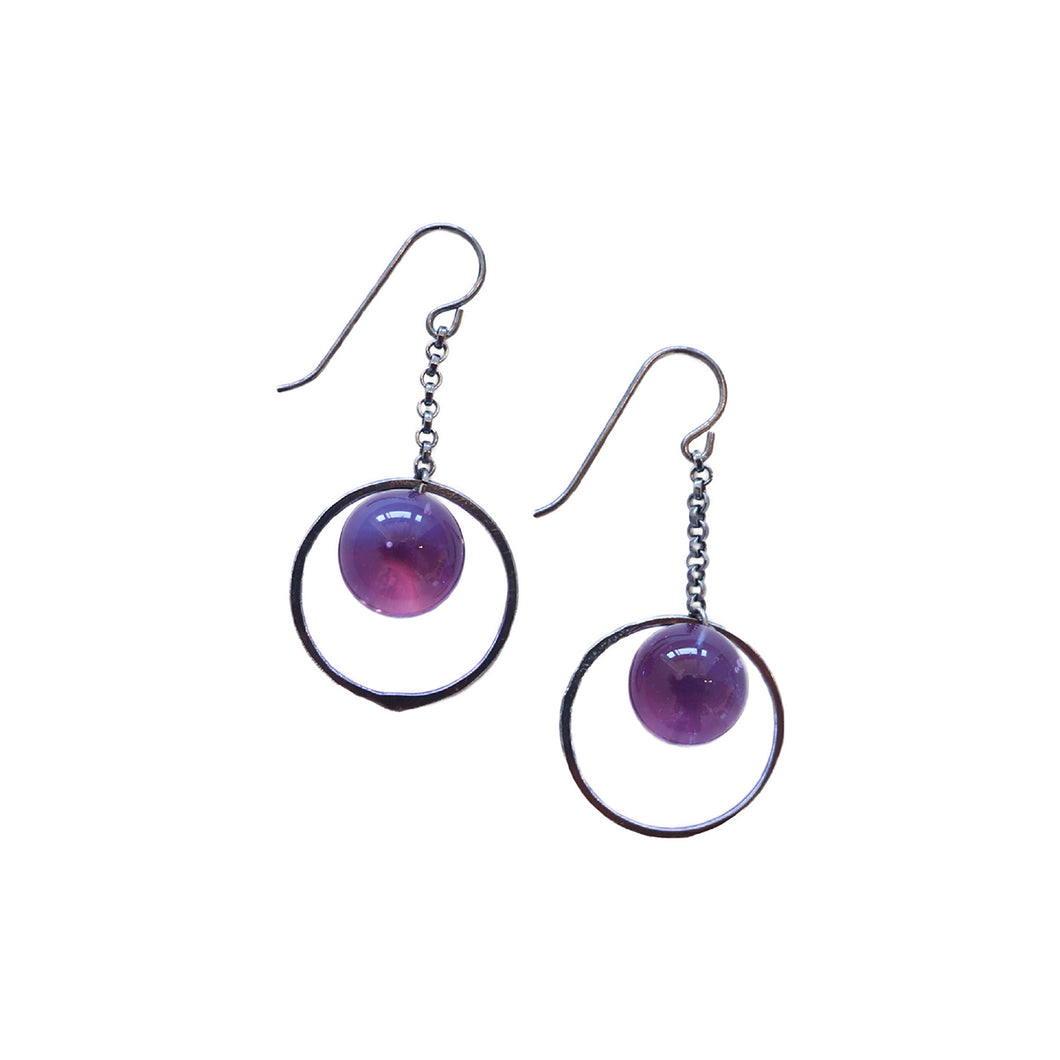 Lavender Globe Hoop  Earrings by Krista Bermeo