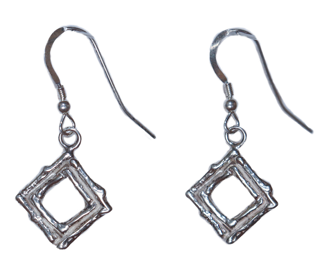 Sterling Silver Diamond Shaped Earrings by Michelene Berkey