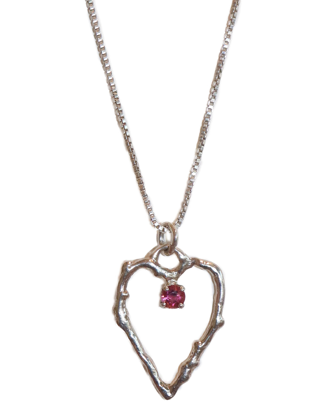 Twig Heart Necklace with Pink Tourmaline by Michelene Berkey