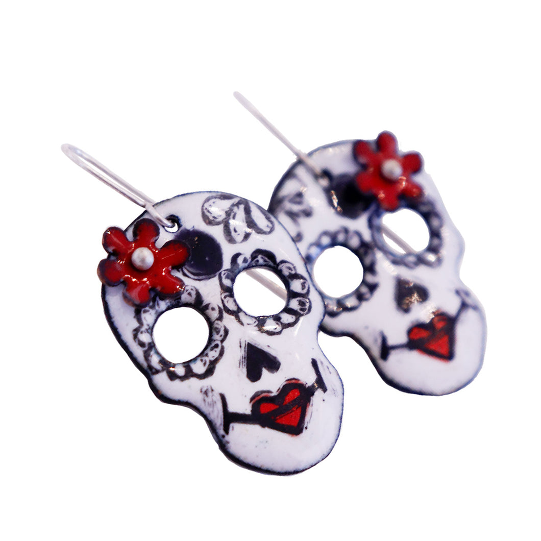 Red Dia De Los Muertos Earrings by Kirsten Denbow