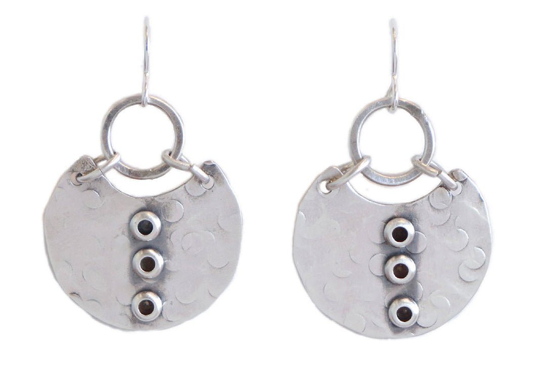 Sterling Silver Drop Earring with Circle Detail Earrings by Joanna Craft