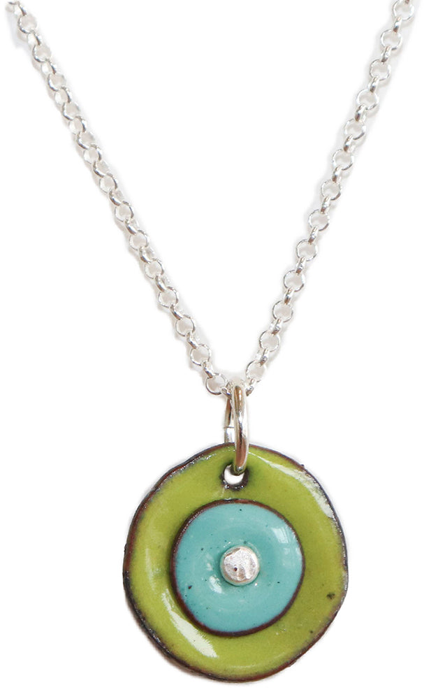 Circular Green & Blue Enamel with Sterling Silver Necklace by Joanna Craft