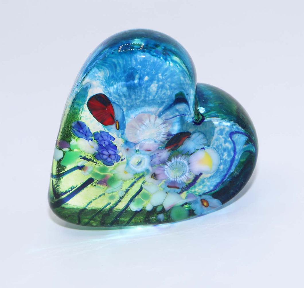 Teal Floral Glass Heart by Robert Held