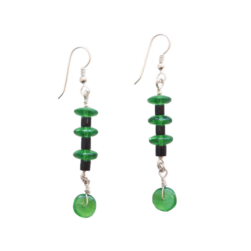 Green Glass Trade Bead Earrings by Janet Seward