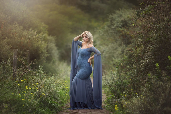 Long sleeves off shoulder fancy maternity dress