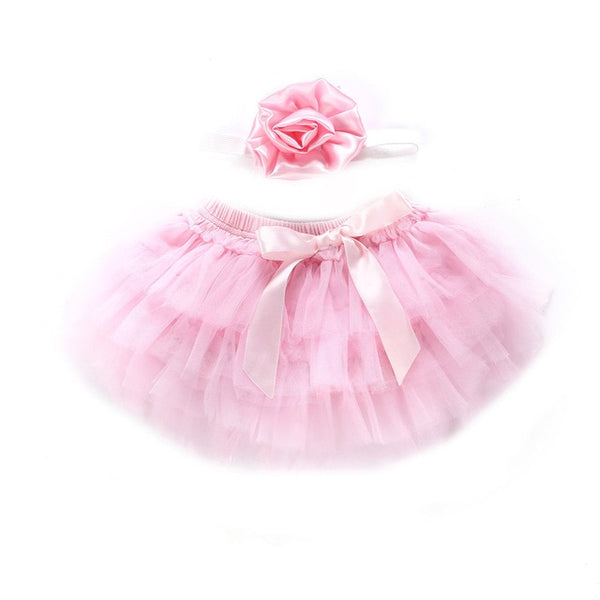 Baby Girl Skirt Headband 2PCS Ballet Dance Lace Bowknot Tulle Chiffon Skirt Photo Props 0-24M