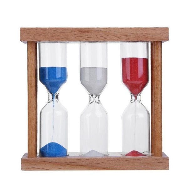 1/3/5 Minutes Wood Frame Hourglass Sand Clock  for Home Table Tea Decoration