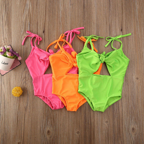 Girls Fluorescence Color Bowknot Swimsuit