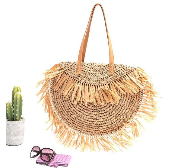 Girls Summer Natural Straw Large Tassel  Beach Bag