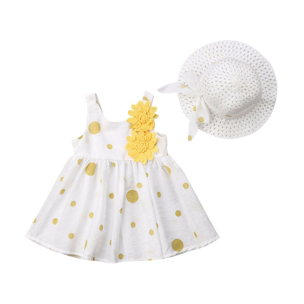 Baby Girl Cotton Flower Summer Dress With Sun Protect Hat