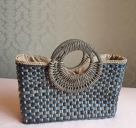 Summer Round Handle Handmade Straw Bucket Beach Bag