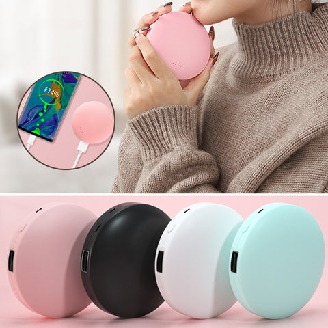 2 in 1 Mini Electric Hand Warmer + Round USB Rechargeable Pocket Power Bank with Double-Side Heating and 2 Temperature Switch 3000mAh