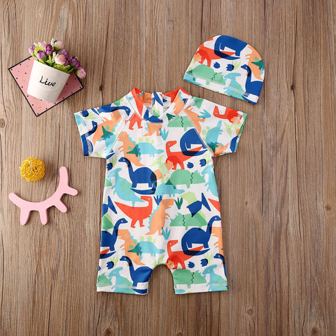 Short Sleeve Dinosaur Colorful Swimsuit for Baby Boy