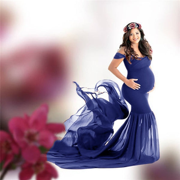 Long off shoulder maternity photography dress