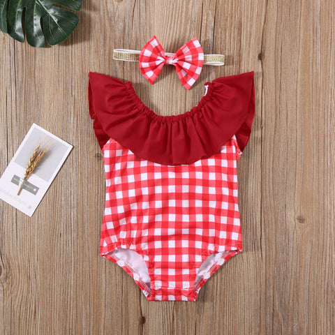 Baby Girl Bowknot Ruffled Red Checked Swimsuit