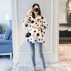 Polka Dot Printed Summer Maternity Blouse
