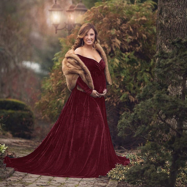 Velvet touch Maternity Gown