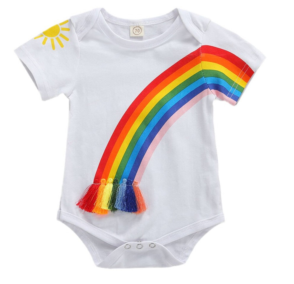 Baby Girl Boy Rainbow Summer Short Sleeve Romper
