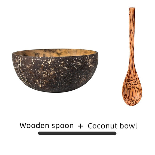 Coconut Bowl and Wooden Spoon