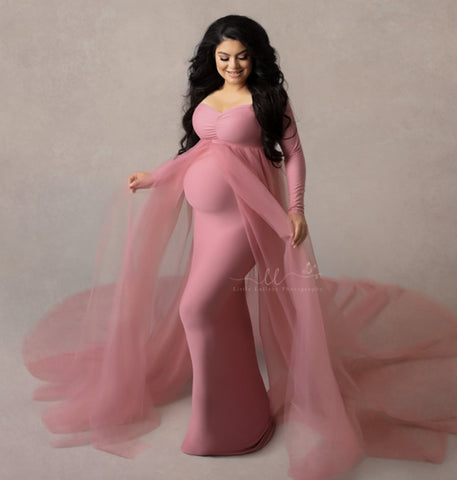 Maternity Stretchy Cotton Tulle Long Dress with Cape