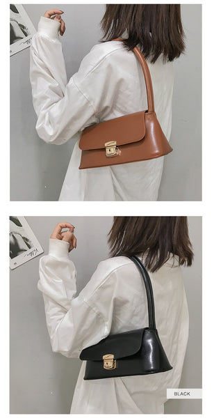 Luxury Vegan PU Leather Top-handle Baguette Bag For Women