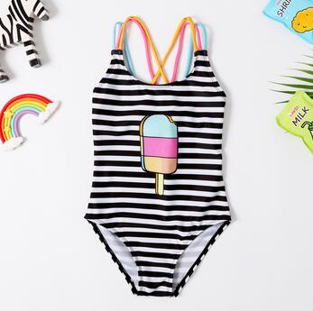 Baby Girl Striped Ice Cream Quick-Drying Stretch Swimsuit