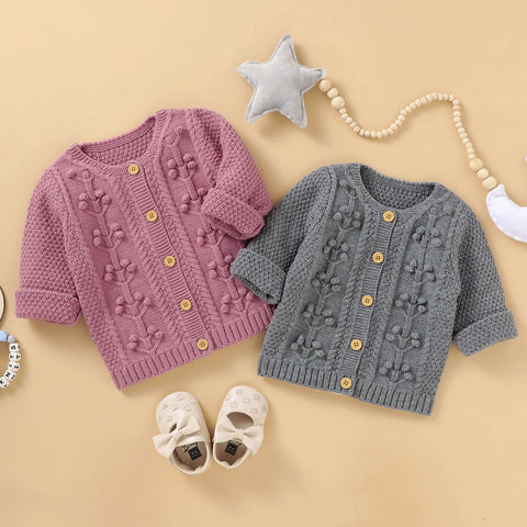 Baby Girl Handmade Bubble Ball 3D texture knitted Cardigan