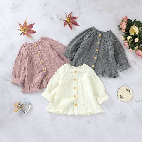 Single-breasted A-line Baby Girl Knit Sweaters