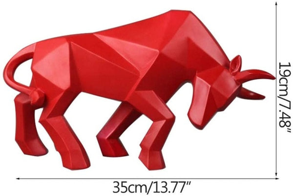 Abstract Resin Bull Statue Bison Sculpture for Room, Desk, Home Decoration, Gift