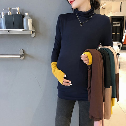Maternity Turtleneck Knitted Top