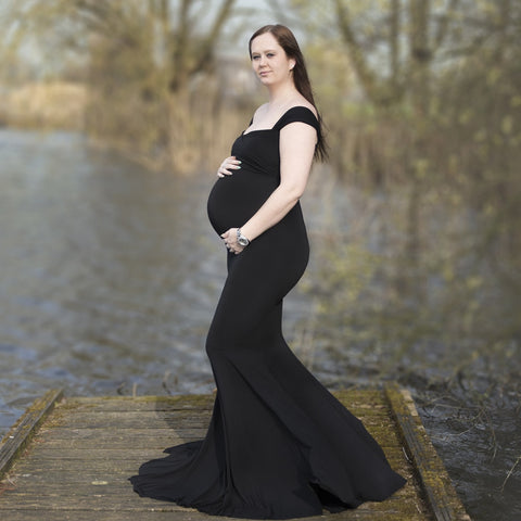 Off Shoulder Cotton Long Maternity Dress for Photography, Baby Shower