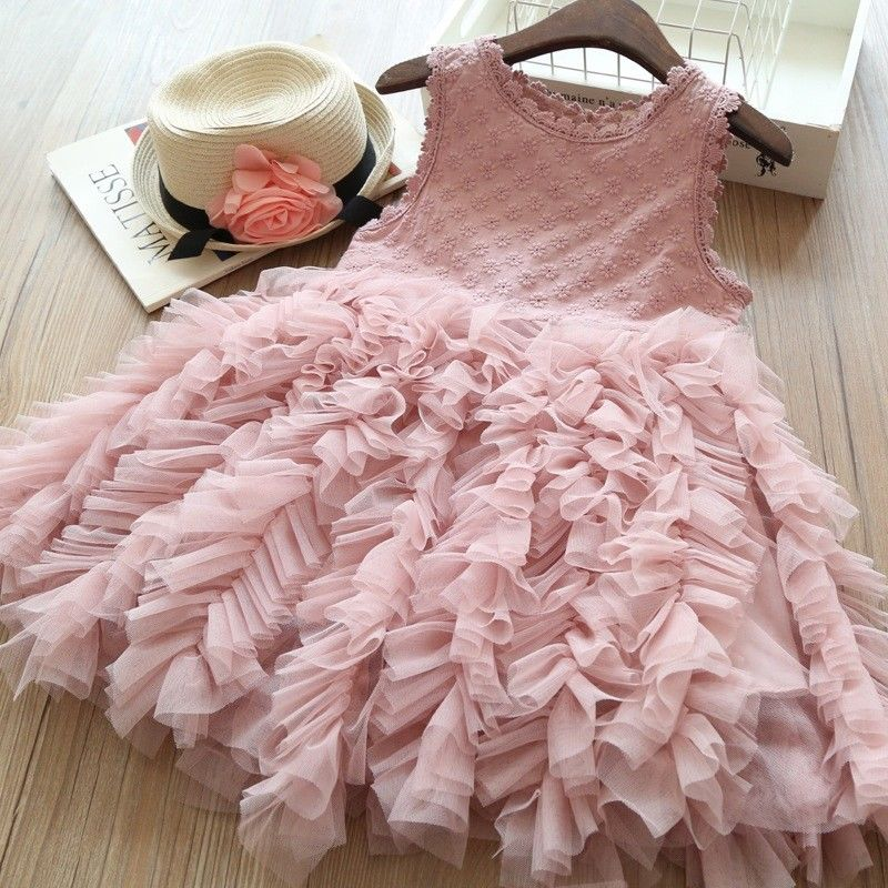 Girls Sleeveless Ruffles Lace Party Dress Knee-Length 1-6Y