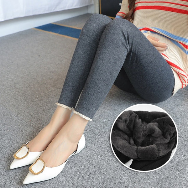 Winter Warm Soft Velvet Maternity Leggings