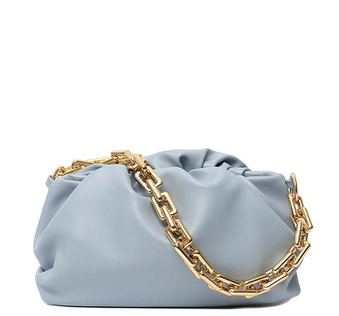 Classic PU Vegan Leather Thick Chain Shoulder Bag Clutch