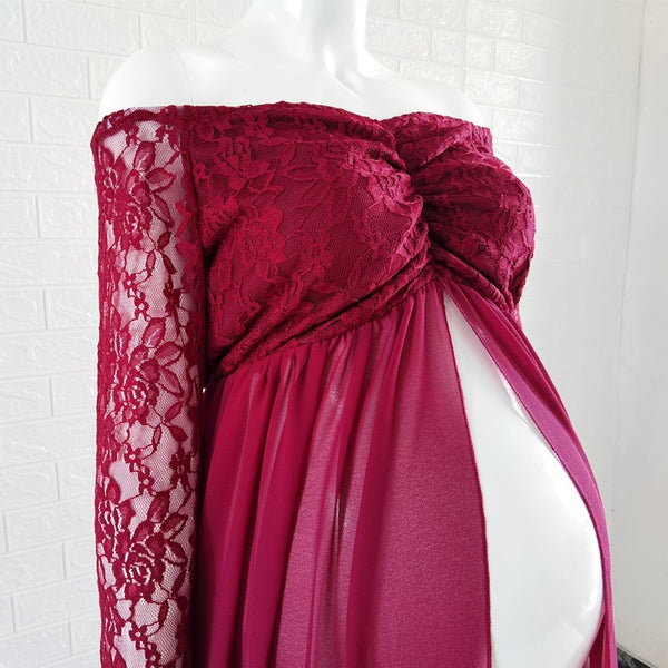 Maternity Red  Slit Lace Dress