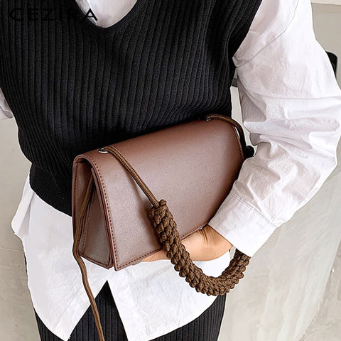 Luxury Vegan Leather Flap Braid Crossbody Handbag