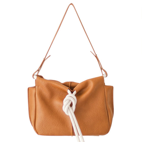 Vegan Leather Rope Knot Handbag PU Leather Over Shoulder Bag