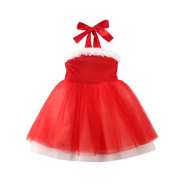 Baby Girl Princess Lace Christmas Party Gown Santa Red Dress 1-6T
