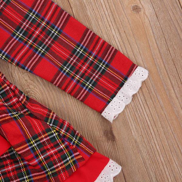 Christmas Baby Girl Plaid Dress Full Sleeve Holiday Themed Elastic Waist Skirt with a Bow