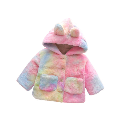 Baby Girl Tie-dyed Long Sleeve Rabbit Ears Hooded Button Coat