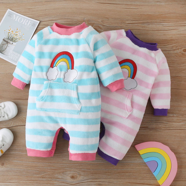One piece baby Boy girl rainbow striped jumpsuit romper