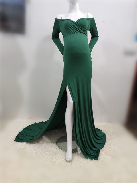 Sexy Shoulderless Side Split Maternity Dresses For Photo Shoot