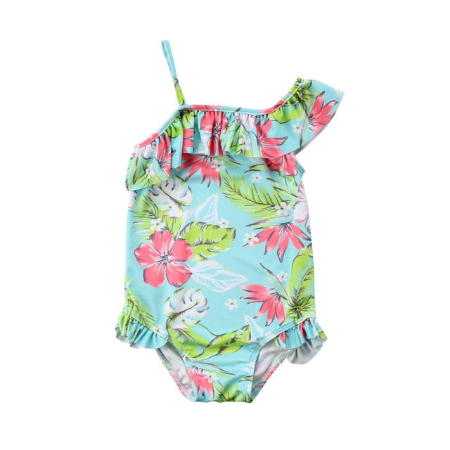 One Shoulder Girls Floral Swimsuit